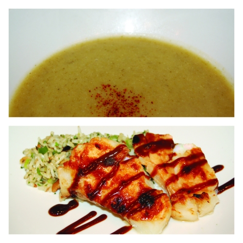 Dish1: Light Potato Leek Soup & Miso Glazed Cod Fish with Herbed Jasmine Rice