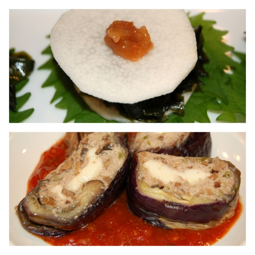 Dish1: Sliced Japanese Yam, Seaweed and Shiso salad with plum paste  Dish2. Eggplant wrapped Turkey stuffed with non-fat mozarella cheese